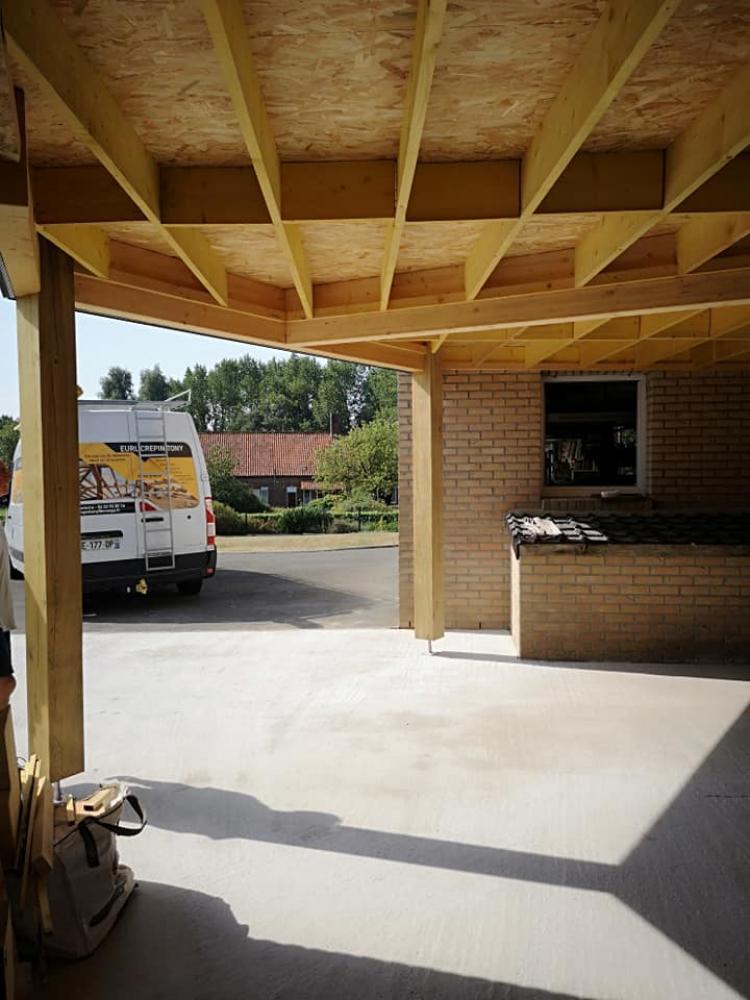 Extension bois carport maison